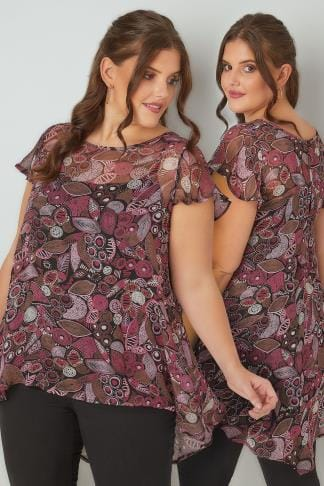 Dipped Hem Tops Pink & Brown Leaf Print Swing Top With Dipped Hem 170333