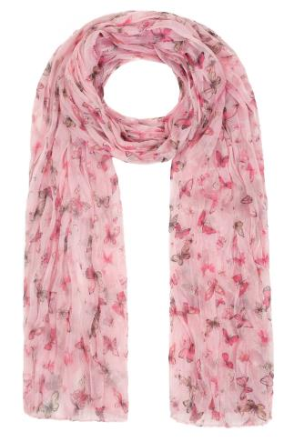 Scarves Pink Butterfly Print Crinkled Scarf 152057