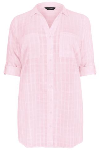 Pink Checked Longline Shirt With Waist Tie