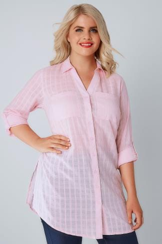 Blouses & Shirts Pink Checked Longline Shirt With Waist Tie 130034