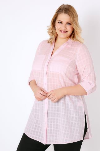 Shirts Pink Checked Longline Shirt With Waist Tie 130034