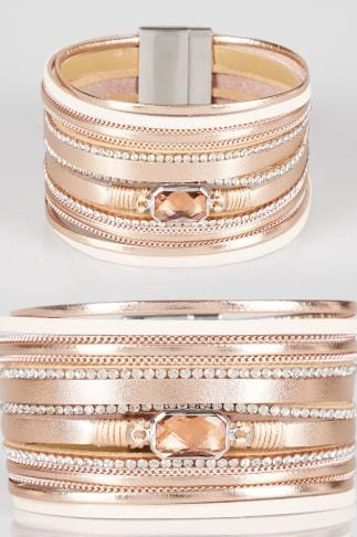Bracelets Pink Chunky Bracelet With Diamante Details 152361