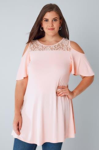 Bardot & Cold Shoulder Tops Pink Cold Shoulder Longline Jersey Top With Lace Panel 134157