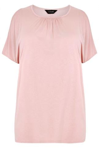 Pink Cold Shoulder Top With Ruched Neckline