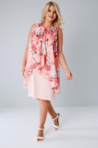Party Dresses Pink & Coral Floral Printed Dress With Layered Front & Diamante Detail Neckline 136133