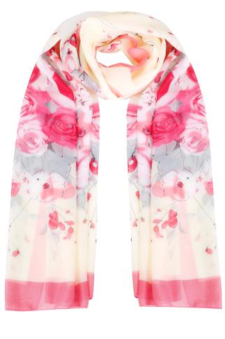 Scarves Pink & Cream Floral Print Woven Sheer Scarf 152076