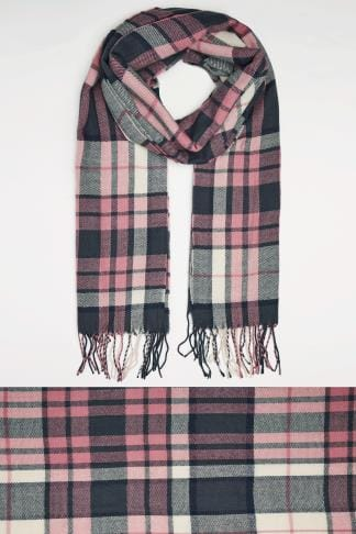 Scarves Pink, Cream & Navy Oversized Check Scarf 101513