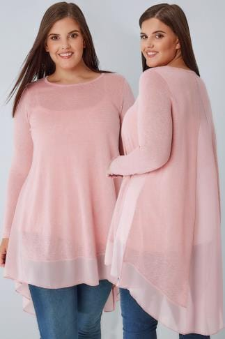 Longline Tops Pink Dipped Hem Longline Top With Sheer Panels 132401