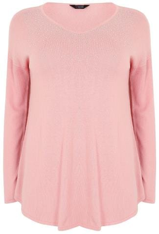 Pink Fine Knit Jumper With Diamante Embellishment To Neckline