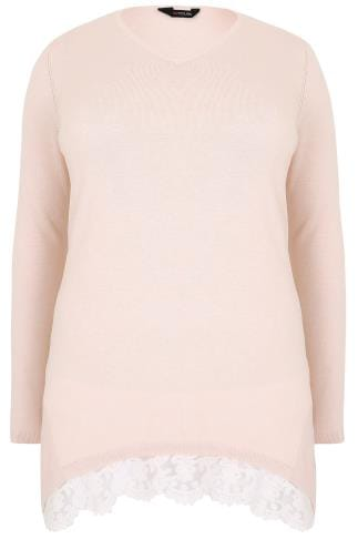 Pink Fine Knit Longline Jumper With Contrasting Lace Hem