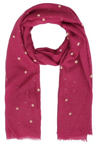 Pink Floral Print Glitter Scarf
