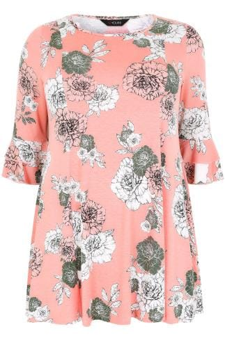 Pink Floral Print Peplum Top With Layered Frill Cuffs