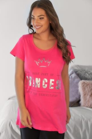 Pyjamas Pink Foil Slogan Print Pyjama Top With Dipped Hem 148125
