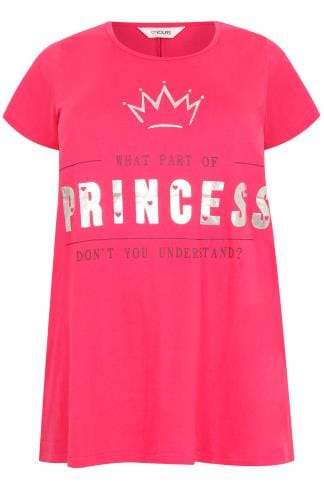 Pink Foil Slogan Print Pyjama Top With Dipped Hem