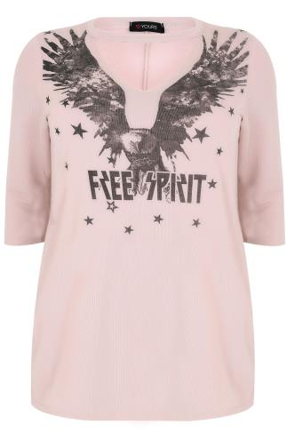 "Pink ""Free Spirit"" Sweat Top With Choker Neck"