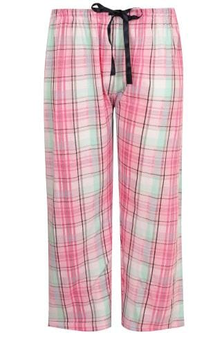 Pyjama Separates Pink & Green Check Print Pyjama Bottoms 148144