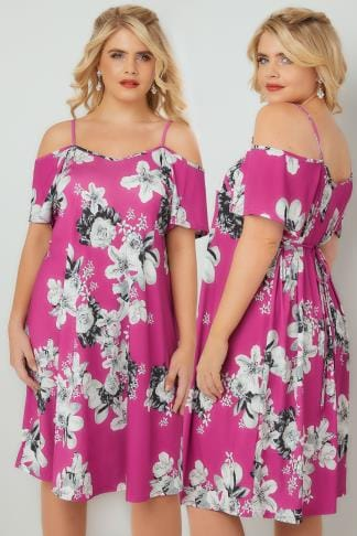 Party Dresses Pink & Grey Floral Cold Shoulder Jersey Cami Dress With Waist Tie 136137