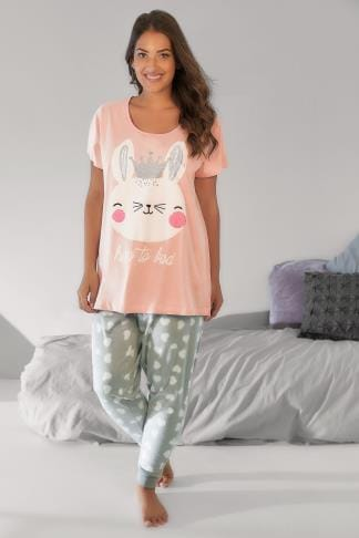 "Pyjama Sets Pink & Grey ""Hop To Bed"" Bunny Print Pyjama Set with Fleece PJ Pants 148119"