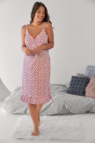 Nightdresses & Chemises Pink Heart Print Chemise With Ruffle Hem 148040