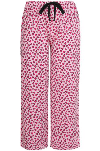 Pink Heart Print Pyjama Bottoms