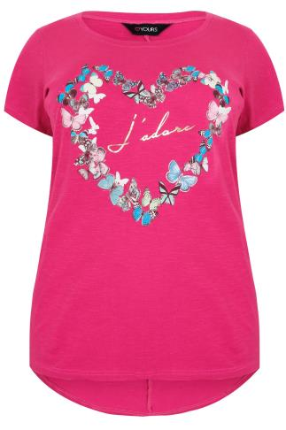 Pink 'J'adore' & Butterfly Print Top With Short Sleeves
