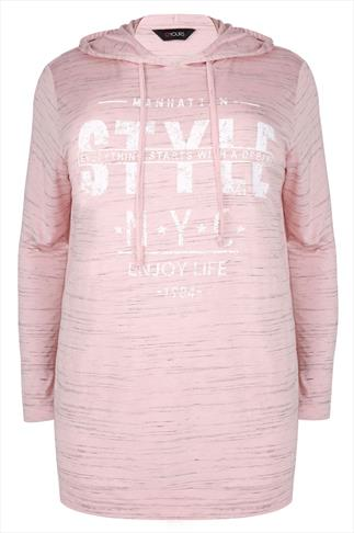"Pink Jersey "" Style NYC"" Print Long Sleeve Hooded Top"
