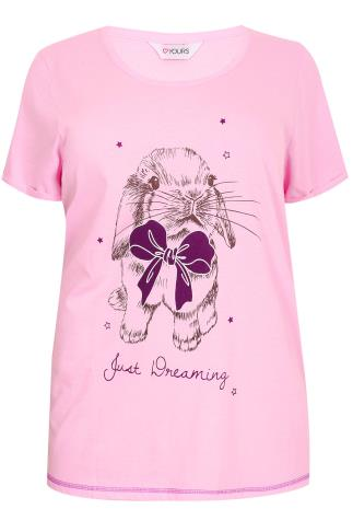 "Pink  ""Just Dreaming"" Bunny Print Pyjama Top"