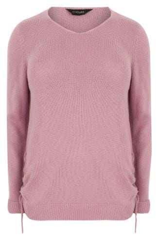 Pink Knitted V-Neck Jumper With Lace Up Sides