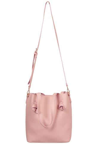 Pink Leather Look Shopper Bag With Knot Trim