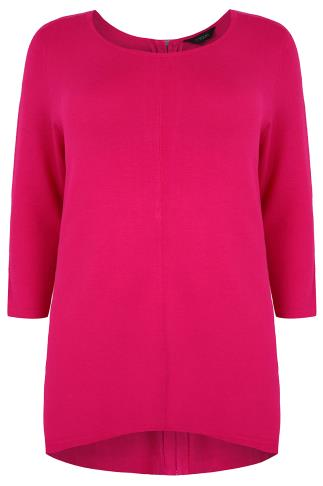 Pink Longline Jumper With Zip Back