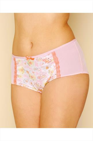Pink Multi Daisy Print Satin Briefs