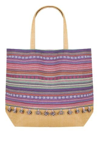 Beach Bags Pink & Multi Stripe Pom Pom Beach Bag With Straw Handles & Panel 152247