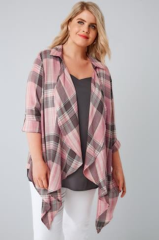 Shirts Pink Open Front Checked Shirt 130120
