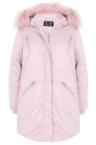 Pink Padded Parka Jacket With Faux Fur Hood
