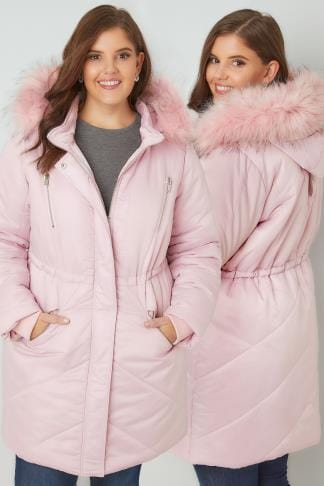 Parkas Pink Padded Parka Jacket With Faux Fur Hood 120034
