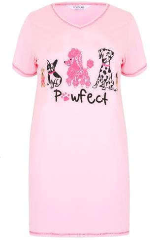 "Pink ""Pawfect"" Dog Print Nightdress"