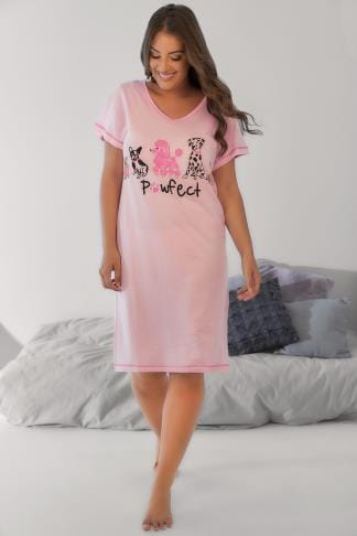 Nightdresses & Chemises Pink 'Pawfect' Dog Print Nightdress 148046
