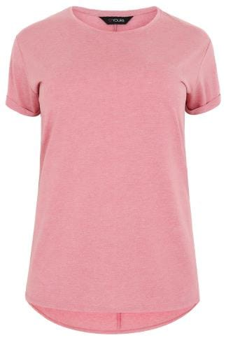 Pink Pocket T-Shirt With Curved Hem