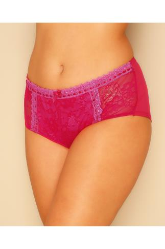 Pink & Red Overlaid Lace Briefs With Ribbon Trim