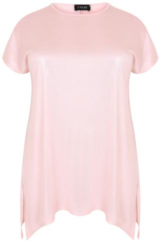 Pink Shimmer Top With Hanky Hem