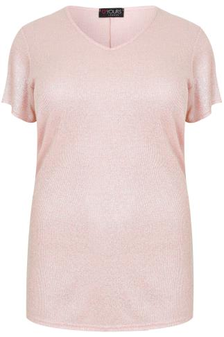 Pink & Silver Shimmer Ribbed Knit Short Sleeve Top With V Neckline