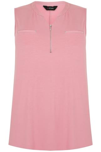 Pink Sleeveless Top With Zip Front