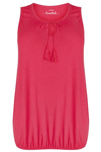 Pink Sleeveless Vest Top With Tassel Tie Front