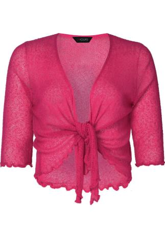 Pink Slub Knit Shrug With Tie