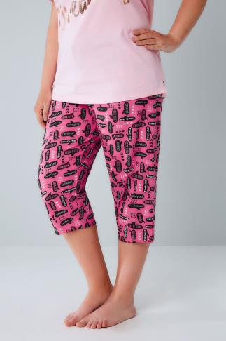 Pink Speech Bubble Print Cropped Pyjama Bottoms 148036