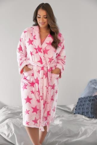Dressing Gowns Pink Super Soft Luxurious Star Fleece Dressing Gown 148094