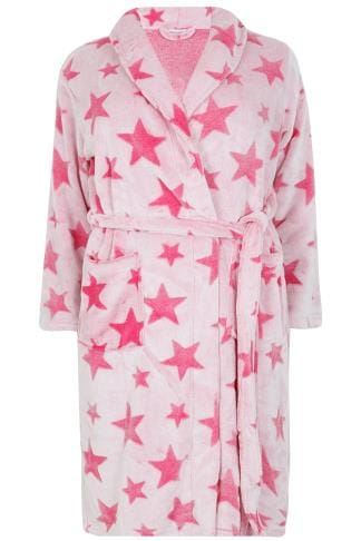 Pink Star Print Fleece Dressing Gown With Pockets