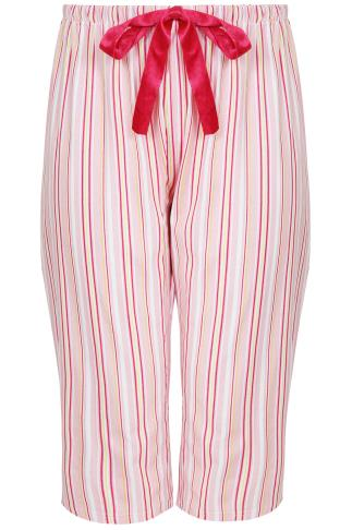 Pink Stripe Print Cropped Pyjama Bottoms