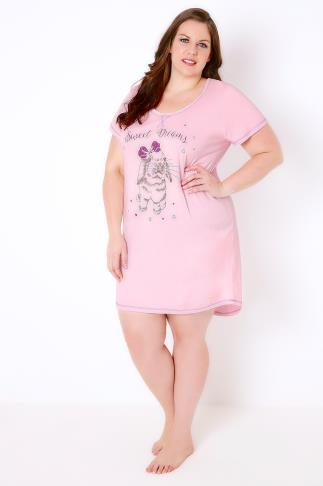 "Pink "" Sweet Dreams"" Bunny Print Jersey Nightdress"