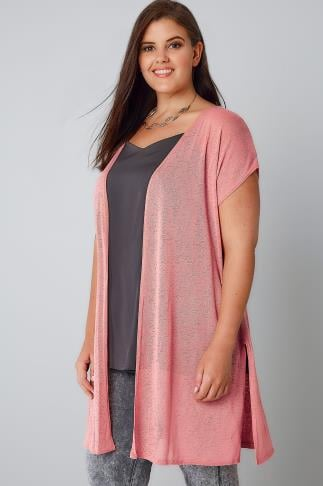 Pink Textured Cardigan With Grown-On Short Sleeves 134141